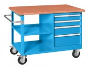 Werkbank fahrbar, Holzarbeitsplatte, 1.200 mm Breite, 4 Laden