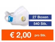 Atemschutzmaske FFP3 NR mit Ventil 540 Stk.