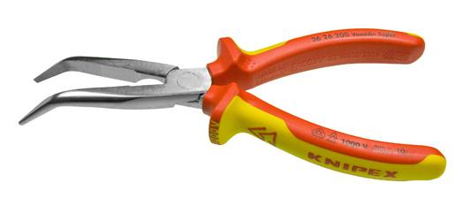 VDE-Flachrundzange KNIPEX mit Schneide gewinkel