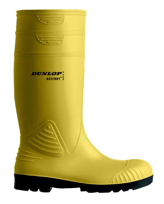 Gelber Gummistiefel - Dunlop Acifort mit Stahlkappe und Trittschutz EN345 S5 44 9vGFkr2U4